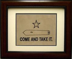 """'Come And Take It' Flag Print in Mahogany Frame - 17.5"""""""" x 14.5"""""""""""