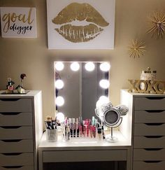 MOOD  Digging this luxe gold & white setup by @xobvrly. Featured: #ImpressionsVanityGlow  IKEA desk and Alex drawers.