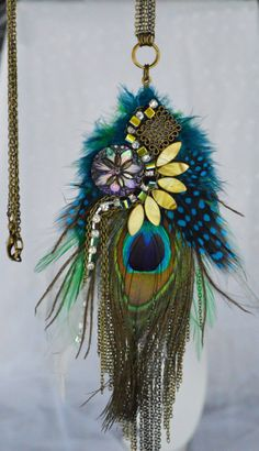 Peacock and Pheasant Feather Abstract Art Pendant with Purple Vintage Button, Rhinestones, Bronze Chain and Green Shell Beads- One Of A Kind