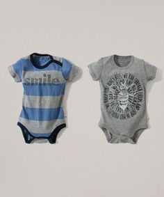 Another great find on #zulily! Blue & Heather Gray Organic Bodysuit Set - Infant #zulilyfinds