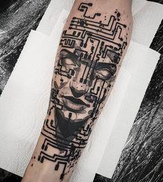 Hand Tattoos, Small Tattoos, Sleeve Tattoos, Tattoos For Lovers, Tattoos For Guys, Computer Tattoo, Hairline Tattoos, Tech Tattoo, Cyberpunk Tattoo