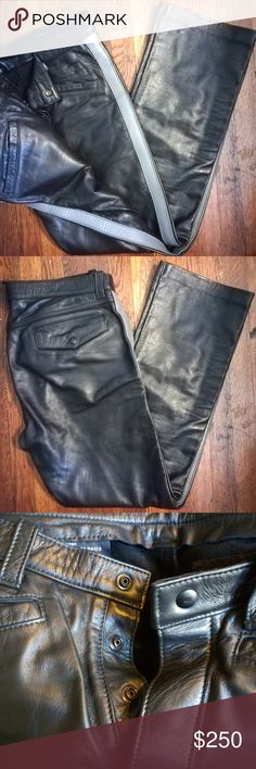 Mr-S-Leather Motorcycle Pants Mr-S-Leather black, leather, motorcycle pants, with a gray stripe down the side of each leg Mr-S-Leather Pants