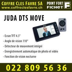 Microviseur DTS Move, Ecran TFT 4.3, Angle de vision 110°, Détecteur de mouvement  #Pointfortfichet #Geneve #Surveillance #juda #domotique Angles, Motion Detector, Home Tech