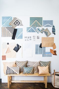 Stripes make a statement in the entryway. | http://domino.com