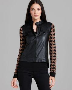 ELLA MOSS Georgina Houndstooth Sweater Jacket Faux Leather Black Tan Knit  Sz XS #EllaMoss #BasicJacket #Casual