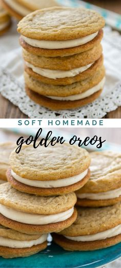Soft Homemade Golden Oreos : Vanilla cookies with vanilla frosting makes a soft and homemade golden Oreo! Vanilla cookies with vanilla frosting makes a soft and homemade golden Oreo! Vanilla Cookies, Vanilla Frosting, Chocolate Chip Cookies, Oreo Frosting, Chocolate Chips, Yummy Treats, Sweet Treats, Yummy Food, Biscuits