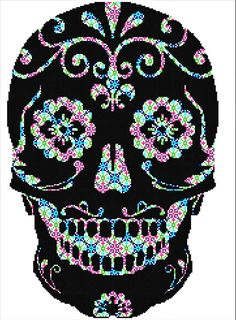 Mosaic Sugar Skull Cross Stitch Pattern Modern, Day of the Dead Cross Stitch Pattern, Floral Cross Stitch, Colorful Skull, Detailed Skull  This PDF counted cross stitch pattern available for instant download. Floss: DMC Fabric: AIDA 14-count ( other AIDA Fabric Counts may be used, the finished pattern will be different in size) Number of Colors: 8 Full Cross stitches only Size: 162 x 243 stitches (11.57 x 17.36 on 14 ct Aida)   There is no background to be stitched. You can play around with…