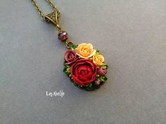 Pendant with polymer clay flowers Handmade flowers Polymer clay flowers: peonies and roses