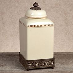Have to have it. GG Collection Gracious Goods Ceramic Canister with Metal Base - Cream $58.80