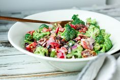 This Broccoli Salad with Yogurt Dressing is a healthy twist on traditional broccoli salad. The results are delicious and this could not be easier!