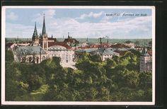 old postcard: AK Komotau / Chomutov, Fernblick zur Stadt