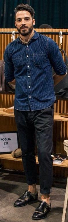 Chambray Shirt with Pin Dots, Black Chinos, and Kilt Brogues. Men's Spring Summer Fashion.
