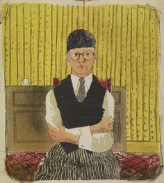 Self Portrait, David Hockney, lithograph in five colors. 11 ½ x 10 ¼ in. Courtesy of the David Hockney Foundation. David Hockney Prints, David Hockney Artwork, Selfies, Dulwich Picture Gallery, Pop Art Movement, Digital Museum, Getty Museum, Collaborative Art, Printmaking