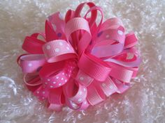 Large Loopy Pink Hair Bow Layers of Loops Bow by preciouscurls