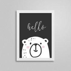 Quadrinho Escandinavo Hello Bear - Decor Quadros | Decoração para o quarto de bebê e criança