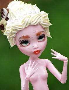 """Monster High custom doll - """"Buttercream"""" - Draculaura repaint with faux frosting hair"""