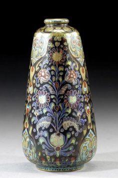 Zsolnay, Hungary, Eosin glaze ceramic vase, Persian floral style