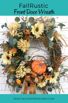Fall rustic decor is quite popular right now and the beautiful Fall wreath will look magnificent on your front door! This Autumn wreath can be brought indoors as well to be hung over a fireplace, in an entry way or even in the dining room over a side ta Diy Projects For Fall, Fall Crafts, Decor Crafts, Diy Crafts, Autumn Wreaths For Front Door, Holiday Wreaths, Fall Front Doors, Halloween Wreaths, Farmhouse Fall Wreath
