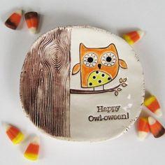 Happy Owloween Dish by thebrickkiln on Etsy, $23.00