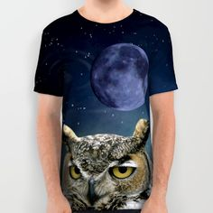 Owl and Blue Moon All Over Print Shirt