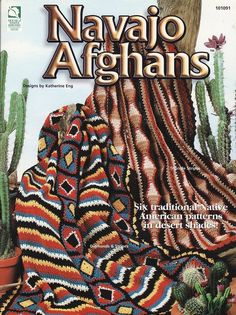 Instructions to make these 6 Traditional Native American Designs in Desert Shades ...Navajo Diamonds & Stripes ... Navajo Quilt ... Navajo Diagonal Squares ... Navajo Shell Ripple ... Navajo Granny Square ... Navajo Triangle Strips ... Uses worsted weight yarn ... 10 page leaflet in excellent condition ... Out of print ... Patterns Only & Not the finished items ... Materials to complete the items are Not included.