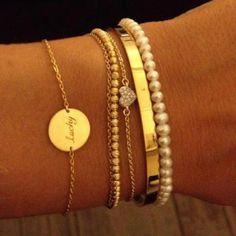 Pulseras Tendencia - Pulseras finas en dorado con mini perlas
