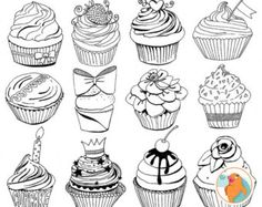 Anniversaire gâteau Line Art, Cup Cake timbres numériques, Happy Birthday Party ClipArt, célébration graphiques numériques