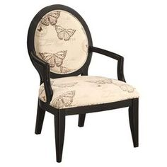 "Louis-style accent chair with curved arms and butterfly-print upholstery.      Product: Chair    Construction Material: Wood and fabric    Color: Ebony and cream   Features:  Butterfly-scripted upholstery on a circular seat back    Chic elegant style    Will enhance any dcor  Dimensions: 40.5"" H x 28"" W x 28.75"" D"