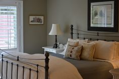 Devine Moss on the walls. Traditional bedroom by Ebourque. #devinecolor #devinemoss #gray #green #paint