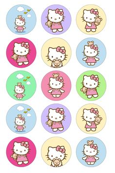 So Cute Images: Hello Kitty 1 inch collage sheet Bottle Cap Art, Bottle Cap Crafts, Bottle Cap Images, Hello Kitty Cupcakes, Cat Cupcakes, Ladybug Cupcakes, Snowman Cupcakes, Cupcake Cakes, Kitty Party