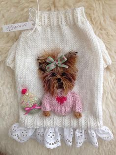 New pet accessories puppies ideas Yorkie Clothes, Pet Clothes, Yorkie Dogs, Yorkies, Crochet Dog Sweater, Dog Clothes Patterns, Cat Sweaters, Pet Fashion, Dog Wear