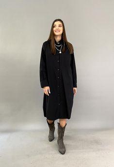 Γυναικεια πουκαμισα φορεμα Total Black, Must Haves, Normcore, Shirt Dress, Shirts, Outfits, Dresses, Style, Fashion