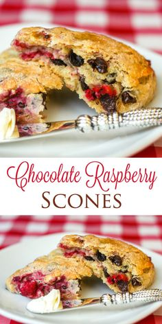 Chocolate Raspberry Scones, luscious melting dark chocolate pockets & pops of bright raspberry flavour go beautifully together in these easy to make scones.