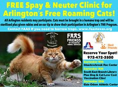 FAAS - Friends of Arlington Animal Services: Free Spay/Neuter surgeries for Arlington, TX feral cats, Monday, September 29, 2014. Please see info. on pin for information on making appointment.