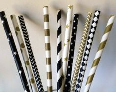 Art Deco- Roaring 20s- Gatsby Wedding Straws! 50 Black and Gold Party Straws that will add that pop to your party
