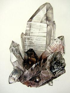 Vintage cristal QUARTZ minéral impression, lithographie de couleur sur pierre gemme antique 1967, oxyde de bijoux rock gravure de Pierre