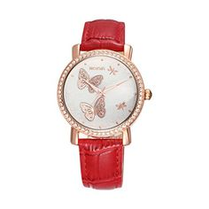 LinTimes Women Fashion Waterproof Quartz Wrist Watch Rhinestone Butterfly Dial Leather Strap Red >>> Check this awesome product by going to the link at the image.Note:It is affiliate link to Amazon.