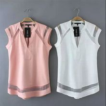 9460 2015 New Summer Woman Blouses Sexy Sleeveless Chiffon Lace Patchwork Ladies Blouses Casual Tops Clothing Blusas Trendy Clothes For Women, Blouses For Women, Ladies Blouses, Blouse Sexy, Office Fashion Women, Blouse Patterns, Plus Size Tops, Casual Tops, Shirt Blouses