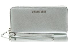 a681e6882a7b67 NWT Authentic Michael Kors Jet Set Travel Continental Wristlet Wallet  ~Silver #MichaelKors #ClutchWallet