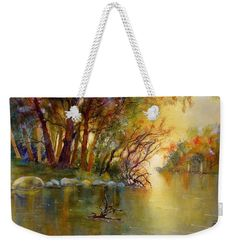 Autumn Landscape Weekender Tote Bag featuring the painting River Rhine in Autumn by Sabina Von Arx Autumn Forest, Warm Autumn, Fall, Harvest Moon, Beach Towel Bag, Yellow Bathroom Decor, Watercolor Paintings, Original Paintings, Weekender Tote
