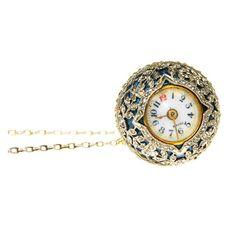 Platinum, Diamond and Blue Enamel Ball Watch at 1stdibs