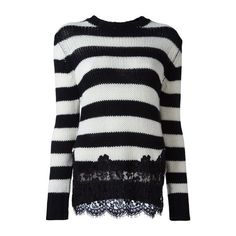 ERMANNO SCERVINO Lace Appliqué Sweater (£685) ❤ liked on Polyvore featuring tops, sweaters, black, ermanno scervino, lacy sweater, lace sweater, lace top and lacy tops
