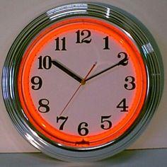 Neonetics Chrome Orange Neon Clock - Chrome Orange Neon Clock