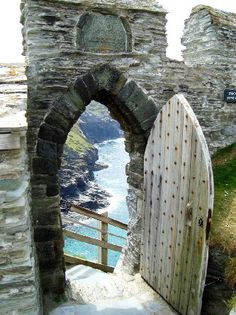 Cornwall, Tintagel Castle. Merlin's Cave at the base of the cliffs