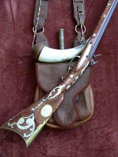Flintlock Rifle with Bag, horn, and knife. Mountain Man Rendezvous, Flintlock Rifle, Black Powder Guns, Man Gear, Powder Horn, Long Rifle, Fur Trade, Hunting Rifles, Cool Guns