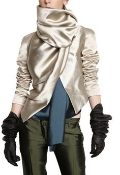 Haider Ackermann Velvet | Haider Ackermann Silk Satin Sleeved Silk Shantung Jacket in White ...