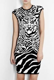Black and white zebra tiger dress by Alexander McQueen