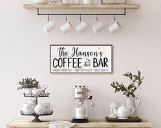 Coffee essentials   Etsy Coffee Bars In Kitchen, Coffee Bar Home, Coffee Bar Signs, Coffee Bar Party, Coffee Bar Station, Kitchen Artwork, Farmhouse Kitchen Decor, Shops, Funny Coffee