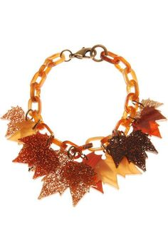 Fallen Leaves Charm Bracelet - The Age of Blazing Trails Tatty Devine, Autumn Leaves, Fallen Leaves, Christmas Wreaths, Charmed, Holiday Decor, Jewelry, Bracelet, Home Decor