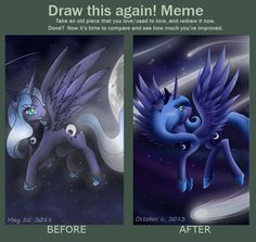 Before and After: Princess Luna by PaperLotus on DeviantArt